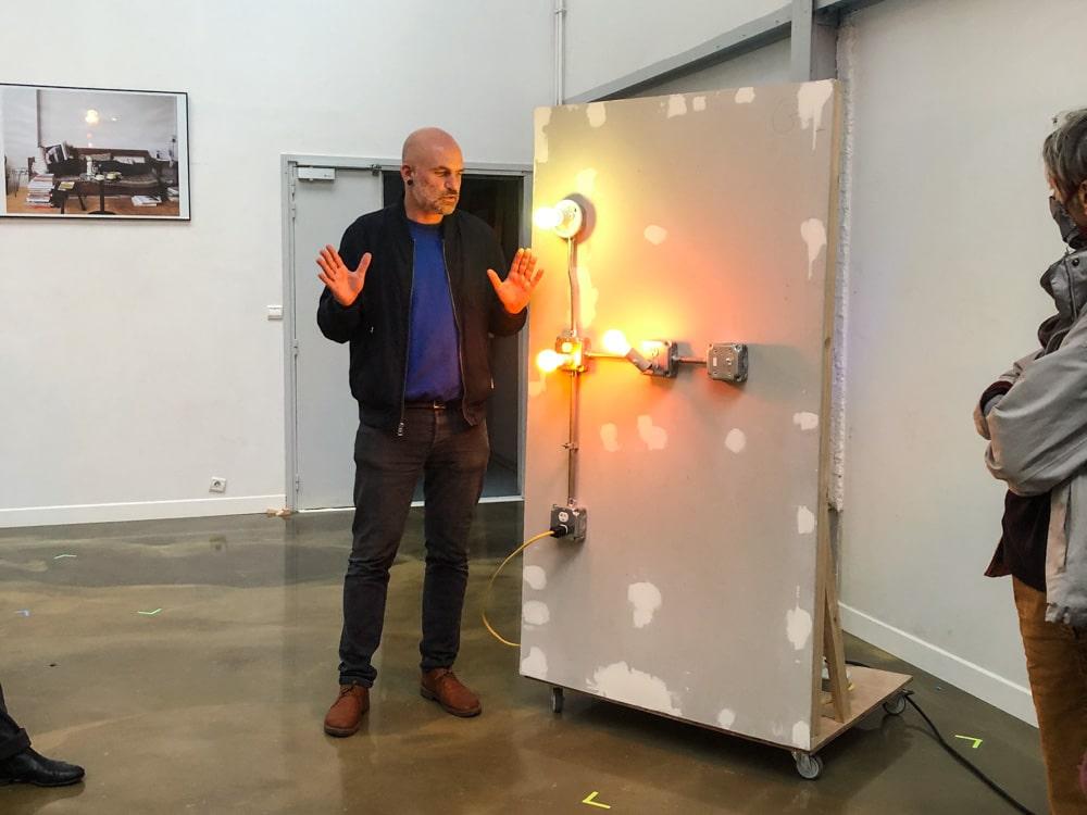 """Artist Nicholas Vargelis introducing his """"infrastructures"""" at Les Laboratoires d'Aubervilliers"""